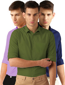 Van Galis Fashion Wear Mutlicoloured Formal Shirt For Men Pack Of  - 3