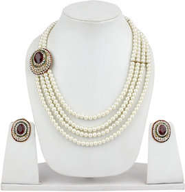 Fashion Jewels Golden Green Maroon Red White Casual/Partywear/Dailywear/Wedding Pearl Kundan NecklaceSet For Girls/Woman