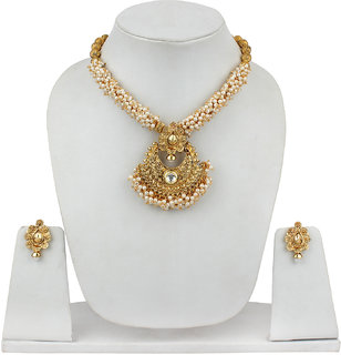 Fashion Jewels Golden White Casual/Partywear/Dailywear/Wedding Pearl Kundan NecklaceSet For Girls/Woman