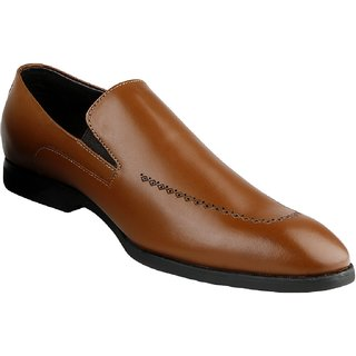 Kanprom Tan Formal Slip On Genuine Leather Shoes For Men