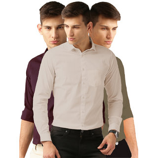 Van Galis Men's Multicolor Solid Cotton Formal Shirt Pack of 3