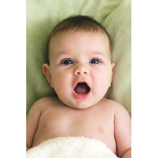 EJA Art  Baby Blanket Yawn Face Eyes Without Frame Paper Poster Size 30X45 cms (With 12 Butterfly Free)