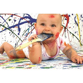 EJA Art  Baby Aamusing Paint Dirty Without Frame Paper Poster Size 30X45 cms (With 12 Butterfly Free)