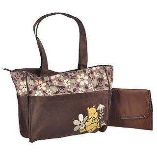 """Winnie the Pooh """"Friendly Flowers"""" Large Diaper Bag - brown, one size"""