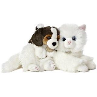 """Aurora World Miyoni Unlikely Friends Angora Cat and Beagle Puppy Plush, 12"""""""