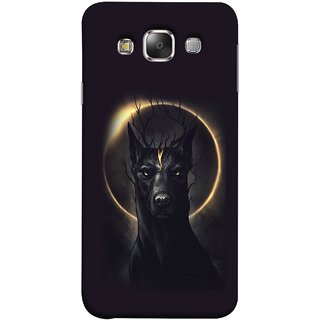 FUSON Designer Back Case Cover for Samsung Galaxy E5 (2015)  :: Samsung Galaxy E5 Duos :: Samsung Galaxy E5 E500F E500H E500Hq E500M E500F/Ds E500H/Ds E500M/Ds  (Doubles As An Aureola Suggesting The God Black Dog)