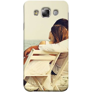 FUSON Designer Back Case Cover for Samsung Galaxy E5 (2015)  :: Samsung Galaxy E5 Duos :: Samsung Galaxy E5 E500F E500H E500Hq E500M E500F/Ds E500H/Ds E500M/Ds  (Beautiful Husband Wife Lovers Valentines Sitting Sea Shore)