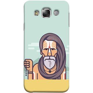 FUSON Designer Back Case Cover for Samsung Galaxy E5 (2015)  :: Samsung Galaxy E5 Duos :: Samsung Galaxy E5 E500F E500H E500Hq E500M E500F/Ds E500H/Ds E500M/Ds  (Himalaya Sadhu Kumbh Mela Beard Rudraksh Mala)
