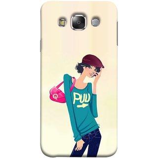FUSON Designer Back Case Cover for Samsung Galaxy E5 (2015)  :: Samsung Galaxy E5 Duos :: Samsung Galaxy E5 E500F E500H E500Hq E500M E500F/Ds E500H/Ds E500M/Ds  (Morden Lady Tshirt Jeans Cap Beautiful Girly)