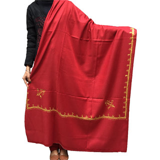 Womens Woolen Tilla Work Side Border Shawl Exactly As Shown-Branded Product