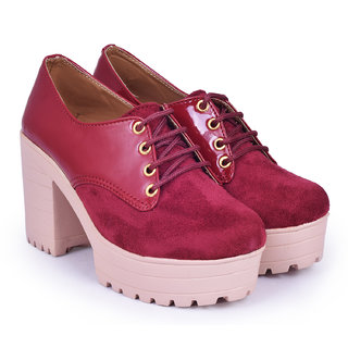 Meia Womens Maroon Lace-up Boot