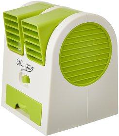 Pickadda Mini Small Portable Desktop Dual Bladeless Cooler Fan ( Colour May vary)