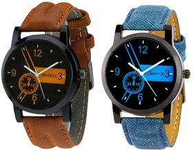Gen-Z combo of 2 brown and denim watches