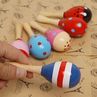 Tink Sky Funny Children Kids Wooden Maraca Rattle Shaker Musical Instrument Educational Toy (Random Color Pattern)