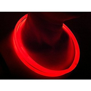 "100 Glow With Us Brand 22"" Red Glow Necklaces Bulk Wholesale Pack With Free 100 Assorted Colors Glow Bracelets (For Order Over $75) And Free Shipping"