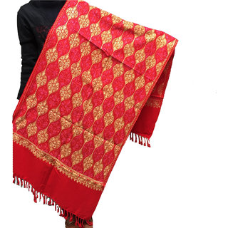 Womens Woolen Embroided Kashmiri Stole Exactly As Shown-Quality Product