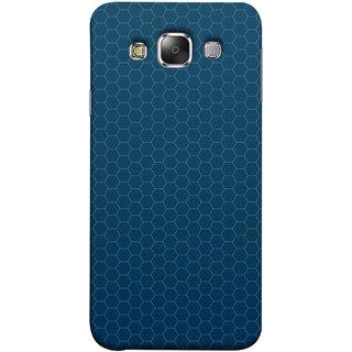 FUSON Designer Back Case Cover for Samsung Galaxy E7 (2015) :: Samsung Galaxy E7 Duos :: Samsung Galaxy E7 E7000 E7009 E700F E700F/Ds E700H E700H/Dd E700H/Ds E700M E700M/Ds  (Hexa Design Honey Bee Hive Art Style Blue)