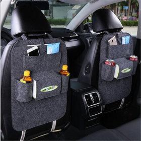 2pc Seat Back Car Organizer Woolen Felt Seat Back Kick Protectors for Kids, Storage Bottles, Tissue Box, Toys (Light Gre