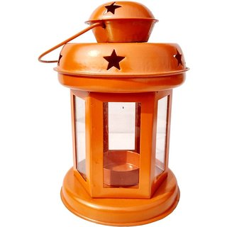 Heaven Decor Decorative Hanging Tealight Candle Holder Lantern Indoor outdoor Home Decoration for Gifts Orange