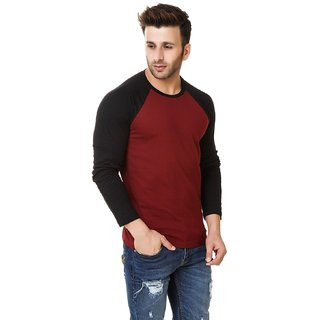Klick2Style Men's Single Jersey Red and Black T-shirt