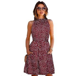 00957197379f Reeva Trendz Maroon Color Women s Western Wear Party Wear Skater Dress  RT7019 Maroon