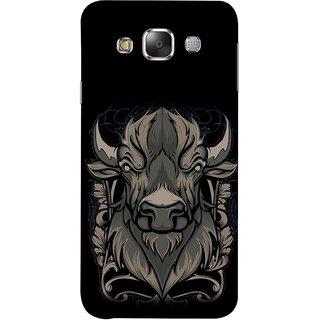 FUSON Designer Back Case Cover for Samsung Galaxy E7 (2015) :: Samsung Galaxy E7 Duos :: Samsung Galaxy E7 E7000 E7009 E700F E700F/Ds E700H E700H/Dd E700H/Ds E700M E700M/Ds  (Bull Head Short Horn Ears Butcher Farm Animal)