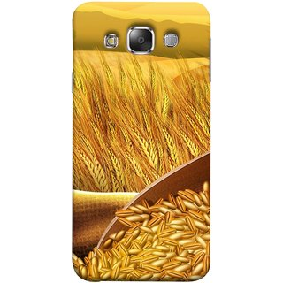 FUSON Designer Back Case Cover for Samsung Galaxy E7 (2015) :: Samsung Galaxy E7 Duos :: Samsung Galaxy E7 E7000 E7009 E700F E700F/Ds E700H E700H/Dd E700H/Ds E700M E700M/Ds  (Wheat Farmers Farms Morning Sunlight Bright Day)