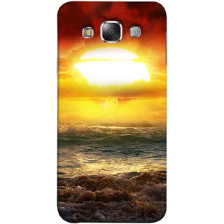 FUSON Designer Back Case Cover for Samsung Galaxy E7 (2015) :: Samsung Galaxy E7 Duos :: Samsung Galaxy E7 E7000 E7009 E700F E700F/Ds E700H E700H/Dd E700H/Ds E700M E700M/Ds  (Sunshine Bright Day Sunny Clouds Fuzzy Waves Long )