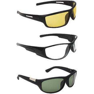 Zyaden Multicolour UV Protection Wrap-around Sunglasses (Pack of 3)