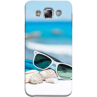 FUSON Designer Back Case Cover for Samsung Galaxy E7 (2015) :: Samsung Galaxy E7 Duos :: Samsung Galaxy E7 E7000 E7009 E700F E700F/Ds E700H E700H/Dd E700H/Ds E700M E700M/Ds  (Summer Vacation Beach Mobile Wallpaper Blue Sky )