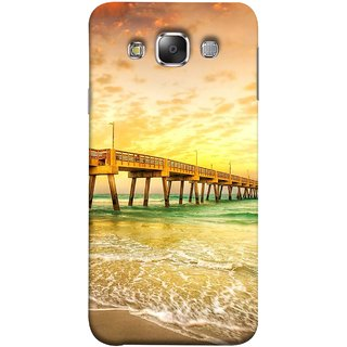 FUSON Designer Back Case Cover for Samsung Galaxy E7 (2015) :: Samsung Galaxy E7 Duos :: Samsung Galaxy E7 E7000 E7009 E700F E700F/Ds E700H E700H/Dd E700H/Ds E700M E700M/Ds  (Jetty Wharf Clear Water Newzeland India Beaches)