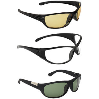 Zyaden Multicolour UV Protection Wrap-around Sunglasses (Pack of 3)