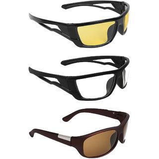 5e75ab738 Buy Zyaden Multicolour UV Protection Wrap-around Sunglasses (Pack of ...