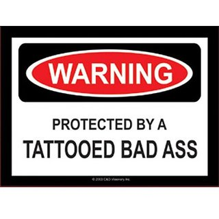 Licenses Products Tattooed Bad Ass Warning Sticker