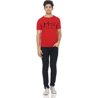 Mr Marc Rose Red Color Half Sleeve Love Printed Tshirt For Men