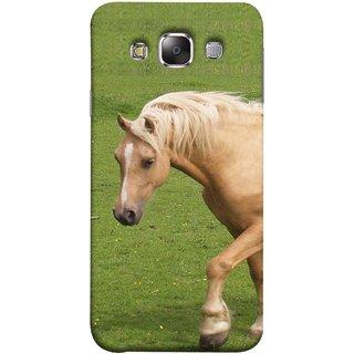 FUSON Designer Back Case Cover for Samsung Galaxy E7 (2015)  Samsung Galaxy E7 Duos  Samsung Galaxy E7 E7000 E7009 E700F E700F/Ds E700H E700H/Dd E700H/Ds E700M E700M/Ds  (White Horse In The Park On The Green Grass)