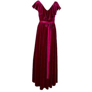 cc2869eb8bdb Buy Aashish Garments - Maroon Ruffle Velvet Maxi Dress Online - Get ...