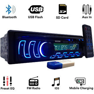Dulcet DC-1188D Detachable Panel Single Din MP3 Car Stereo with USB Bluetooth Dongle for Wireless Music  Premium 3.5mm