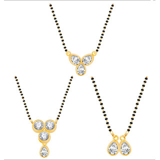 Meia Gold Plated TraditionalEthnic 3 Mangalsutra For Women