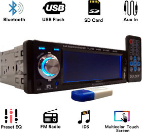Dulcet DC-2288T Touch Panel Single Din MP3 Car Stereo with USB Bluetooth Dongle for Wireless Music  Premium 3.5mm Aux C