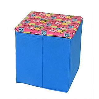 Kuber Industries™ Dots Multi Purpose Foldable Cloth Big Storage Stool Seat Box (Colour and Print might vary according to availibility)