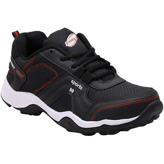 Fhonex Men Black Mesh Lace-up Running Shoes