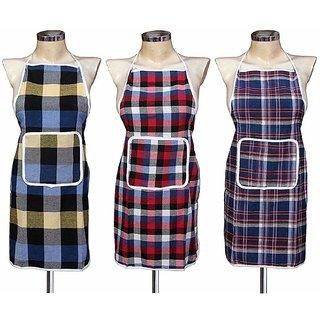 Inaya home decor check design Cotton Kitchen 3 Apron set With Front Pocket