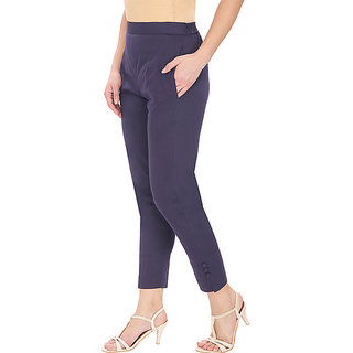 Navy Blue Cotton Lycra Leggings