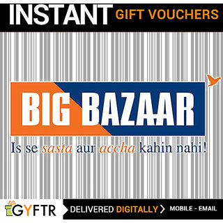Big Bazaar GyFTR Insta Gift Voucher INR 1000 (Payable Only Via Jio Wallet)