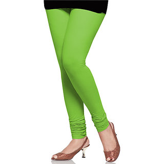 Leaf Green Cotton Lycra Leggings