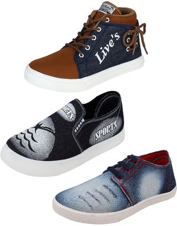 World Wear Footwear Mens Multicolor Lace-up Smart Casual (Pack of 3)