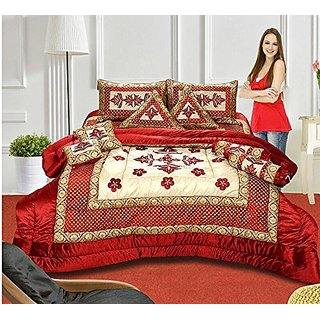 The Intellect Bazaar 7 Pc Lycra Luxury Designer Wedding Bedding Set With Filled Cushions and Bolsters