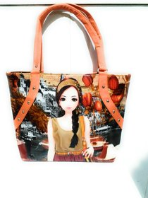 Printed Orange Color Hand Bag From The House Of Dallian