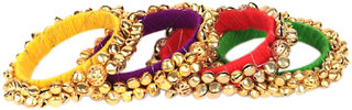 Loops N Knots  Multi-Colour Fashion Jewellery Ghungroo Bangle Set For Girls Women-Traditional Wear Bangle Set Of 4